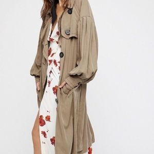 Free People Balloon Sleeve Trench Long Belted Coat